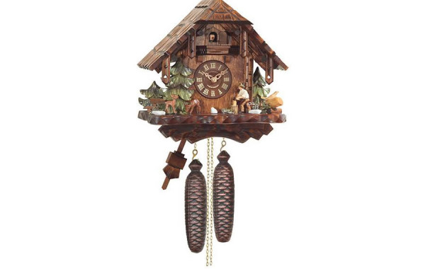Orologio Cucu' con casa rustica e taglialegna