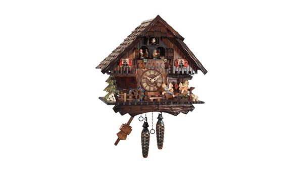 Orologio a Cucu' con mulino, ballerini e bambini sull'altalena