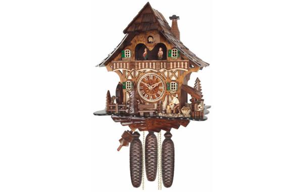 Orologio Cucu' con casa e finestre decorate