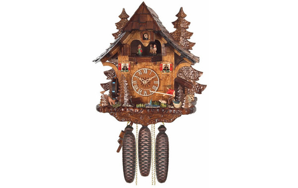 Orologio Cucu' con mulino, pescatore e coppie