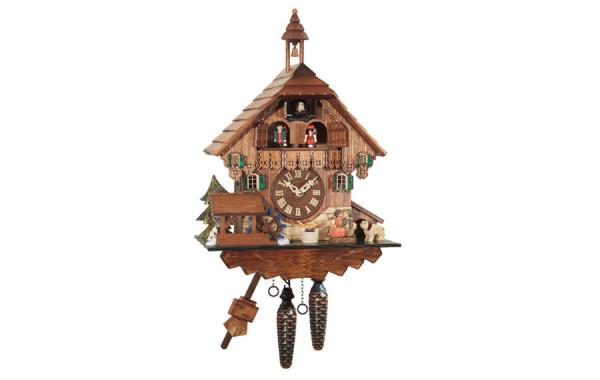 Orologio a Cucu' con campanile, mulino e coppie che si baciano