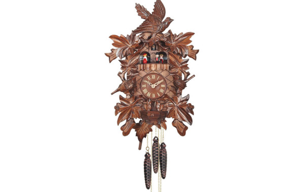 Orologio a Cucu' con uccelli e coppie danzanti